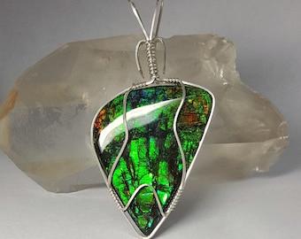 Ammolite wire wrapped pendant, Ammolite pendant, Sterling silver, Green Ammolite jewelry, Blue ammolite necklace, Yellow Ammolite cabochon