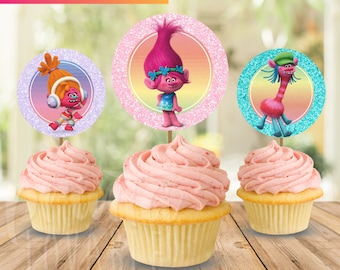 12 Trolls Cupcakes Toppers instant download, Trolls Party, 2 INCHES Cupcakes Toppers, Trolls Toppers, Party Printables, Trolls Party