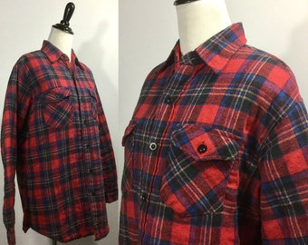 Red Plaid Shirt Jacket with Quilted Lining, Pockets, Buttons Down Front - Warm Wool Blend - Sears Tall Medium - Vintage 60s - Red Black Blue