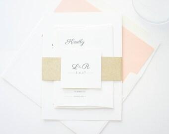 Peach and Gold Wedding Invitations, Traditional Wedding Invite, Gold Glitter, Formal Script, Wedding Invitations - SAMPLE SET