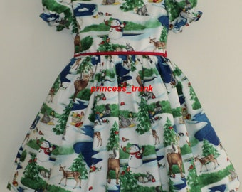NEW Handmade Christmas Snowmen Reindeer Scenic Dress Deluxe  Custom Size
