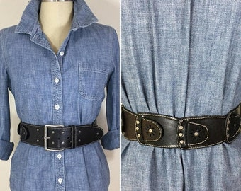 30% Off Sale 90s Women's Wide Black Leather Cut Out Belt with Silver Buckle and Studs, Waist or Hip Slung Style, Large to XL