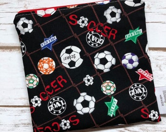 Reusable Snack Bag ~ Reusable Sandwich Bag ~ Reusable Lunch Bag ~ Eco Friendly ~ Water Resistant ~ Zipper Pouch in Soccer
