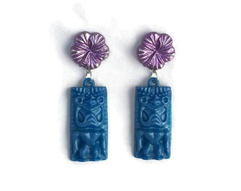Hibiscus and Tiki Earrings - Purple and Blue - Retro Plastic Dangle Earrings - Handmade in USA - Women's, Rockabilly, Pinup Jewelry