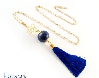 Boho lapis-lazuli - necklace with tassel pedant