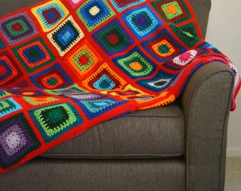 Vintage Red Granny Square Throw - Blanket Lap Boho Bohemian  Squares Fall Winter Spring Cozy Picnic Camping Nursery Colorful