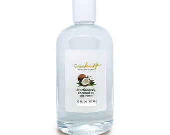 FRACTIONATED COCONUT carrier OIL cold pressed 100% pure organic natural 12OZ