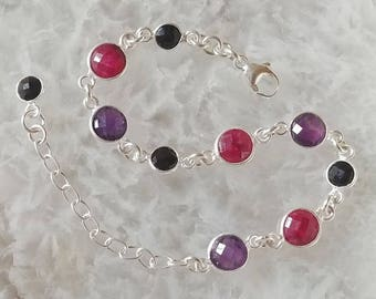 Amethyst, Ruby, Black Onyx and Sterling Silver Bracelet