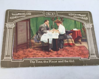 Antique Victorian The Time The Place The Girl Manicure Postcard Unused
