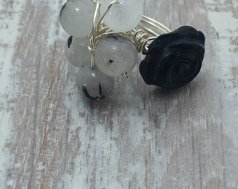 Black and white silver wire wrapped ring