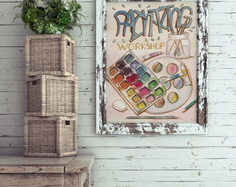 Painting Workshop wall art!  different sizes A4 A3 Letter and 5x7 art print to decorate your weall or table, hand painted printable CLWP0011