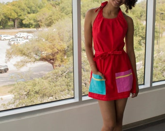 Primary Colors Vibrant Red Wrap Around Dress