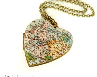 Europe Area Map Necklace on Large Vintage Heart Locket, Antique Map, Vintage Map, London, Paris, Dublin, Amsterdam