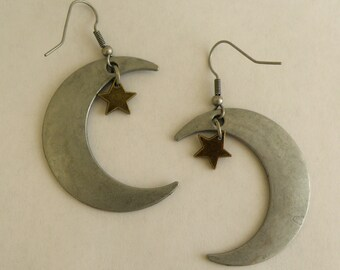Earrings, Moon & Stars on French Wires, new age jewelry (879 881)