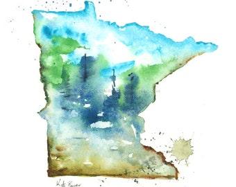 Minnesota Map - Print of watercolor illustration map