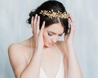 Gold Leaf Crown, Gold Laurel Crown, Leaf Crown, Floral Crown, Leaf Headband, Gold Tiara, Gold Hair Band, Gold Headpiece, Headband MILLICENT