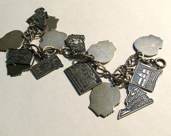 Sterling charms, sterling charm bracelet, vintage souvenir, sterling jewelry, unusual jewelry, sterling charm, estate jewelry, state charms