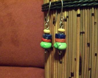 Earrings Gaspeite Coral