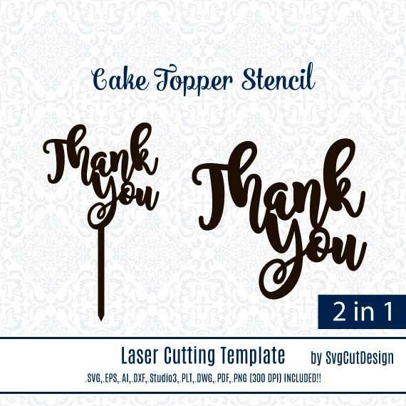 Thank You Diy Wood Coaster Stencils Wedding Cake Topper Laser