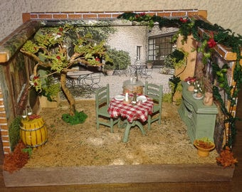 "Miniatures Roombox Dolls House in Scala 1:48 ""La Trattoria"""