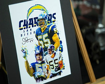 Unique Artwork - Junior Seau #55 - San Diego Chargers   Los Angeles Chargers - 3D Effect - Sports Art Print - Modern Art Poster