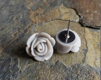 Gray Rose Earrings, Titanium Posts, Flower Studs, Resin Flower, Gift Idea, Hypoallergenic Studs, Bridesmaid Gift