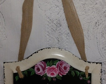 Hand Painted Welcome Sign with Pink Roses - Ready to Ship