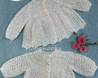 """vintage baby DK crochet matinee coats crochet pattern pdf matinee jackets cardigans 16-20"""" DK light worsted 8ply PDF Instant Download"""