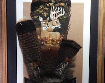 Painted wild turkey tail feather Buck and Doe wildlife art