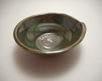 Small Dark Green Stoneware Ceramic Bowl, Handmade Pottery, Hand Thrown, Hand Painted, Kitchenware, Home Decor (B0029)