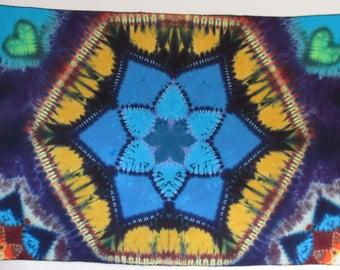 "HEXAGON FLOWER tie dye mandala on cotton 78"" X 56""  twilightdance"