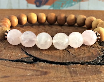 Sandalwood + Rose Quartz Bracelet, Yoga Mala Beads, Relationships, Healing Crystals, Buddhist Meditation, Opening & Healing The Heart Chakra