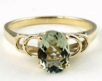 Green Amethyst, 14KY Gold Ring, R300