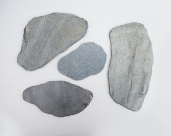 4X BIG SLATE PIECES, grey stones, natural craft supplies, surf tumbled, thin stone slabs, photo prop, rustic home decor,