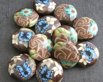 Coffee Brown Beads, Polymer Clay Beads, Lentil Bead Dozen, 12 Pieces, Brown Roses, Made to Order