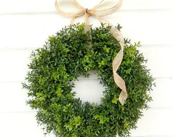 Farmhouse Decor-New England Boxwood Wreath-Farmhouse Wreath-Wreaths-Summer Wreath-Year Round Wreath-Outdoor Wreath-Housewarming Gift