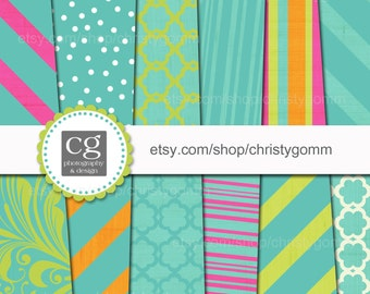 "Printable Digital Paper Pack - 12""x12"" - 300 dpi - for scrapbooking, cards, invitations - Dots, Stripes, Designs"
