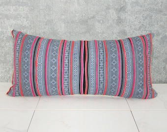 Thailand Hmong Pillow Cover / Indigo Embroidered Decorative Throw Cushion Organic Hemp Ethnic Textile Hand Spun Loom Textile Boho Thai Vivid