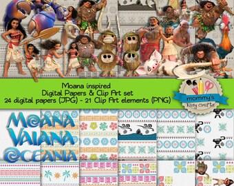 Digital Scrabooking kit Moana Vaiana Oceania Digital papers Clip Arts Maui Digital Download