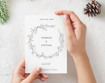 Romantic Winter Save The Date Card, Printable Save The Date Card, Custom Invitation, White, Winter Wreath, Download, Digital Print