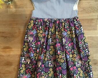 Girls' Floral, Striped Garden Party Dress -