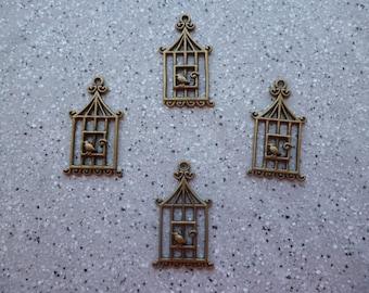 4 charms birdcages 30 mm metal bronze