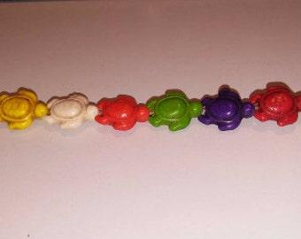 SALE! Turtle beads multicolored beads howlite beads dyed howlite beads stone beads 15x17mm beads