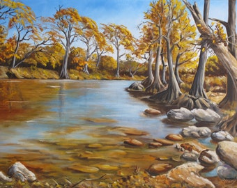 Guadalupe River, Landscape, Oil Painting