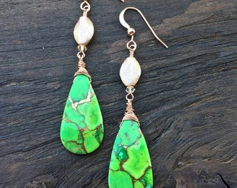 Green turquoise earrings on rose gold