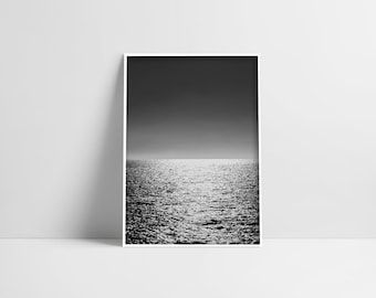 Ocean Print Wall Art Ocean Photography Black And White Sea Large Poster Modern Minimalist Beach Photography Coastal Wall Art Seaside Print