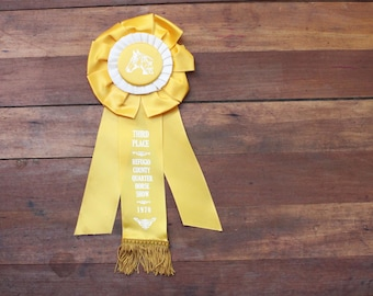Vintage Horse Show Ribbon Quarter Horse Show, Third Place Horse Show Ribbon, Refugio County