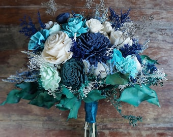 Sea Glass Sola Flower Bouquet // Wood Flower Bouquet, Keepsake Wood Flower Wedding Bouquet, Bridal Bouquet