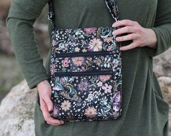 crossbody zipper purse - floral fabric bag - hipster bag - grey everyday bag - zipper closure - cross body bag - shoulder bag - gift for her
