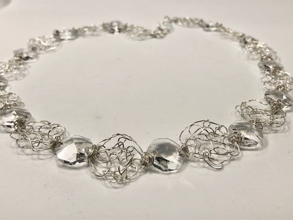 SJC10206 - Handmade sterling silver wire crochet necklace with round wire crochet pieces and chandelier crystal hexagonal prisms